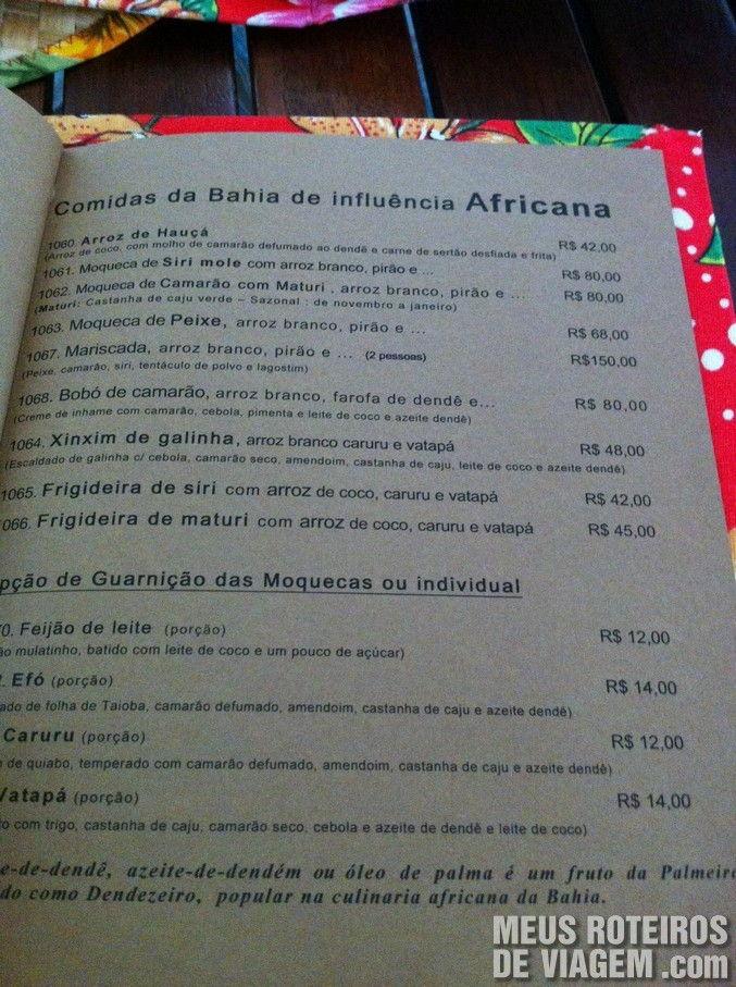 Cardápio do Restaurante Dona Mariquita - Salvador