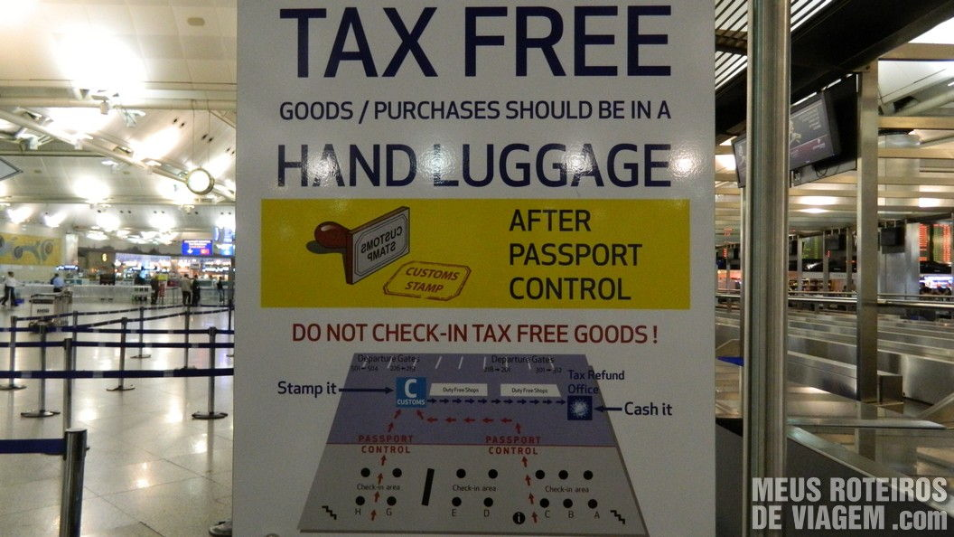 Mapa do tax free no Aeroporto de Istambul