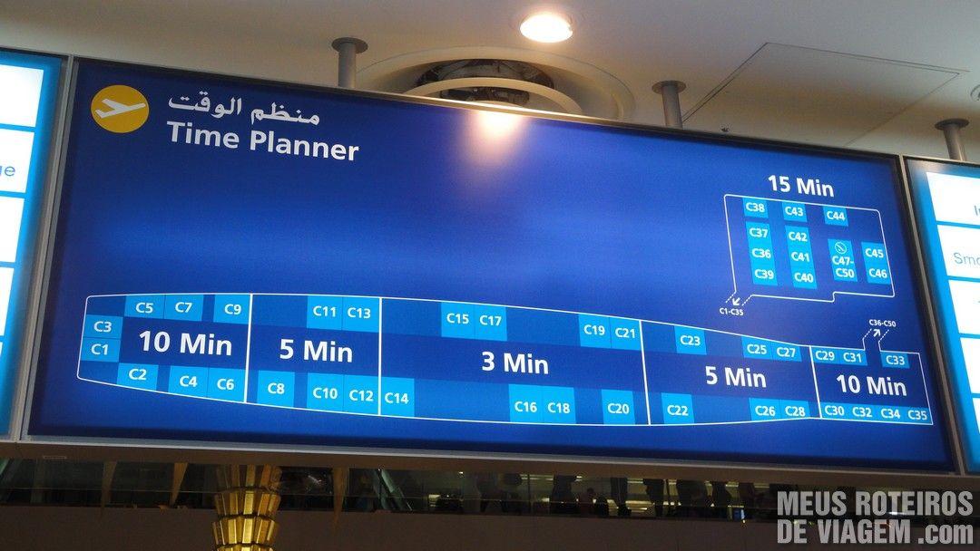 Mapa do terminal 1 - Aeroporto de Dubai