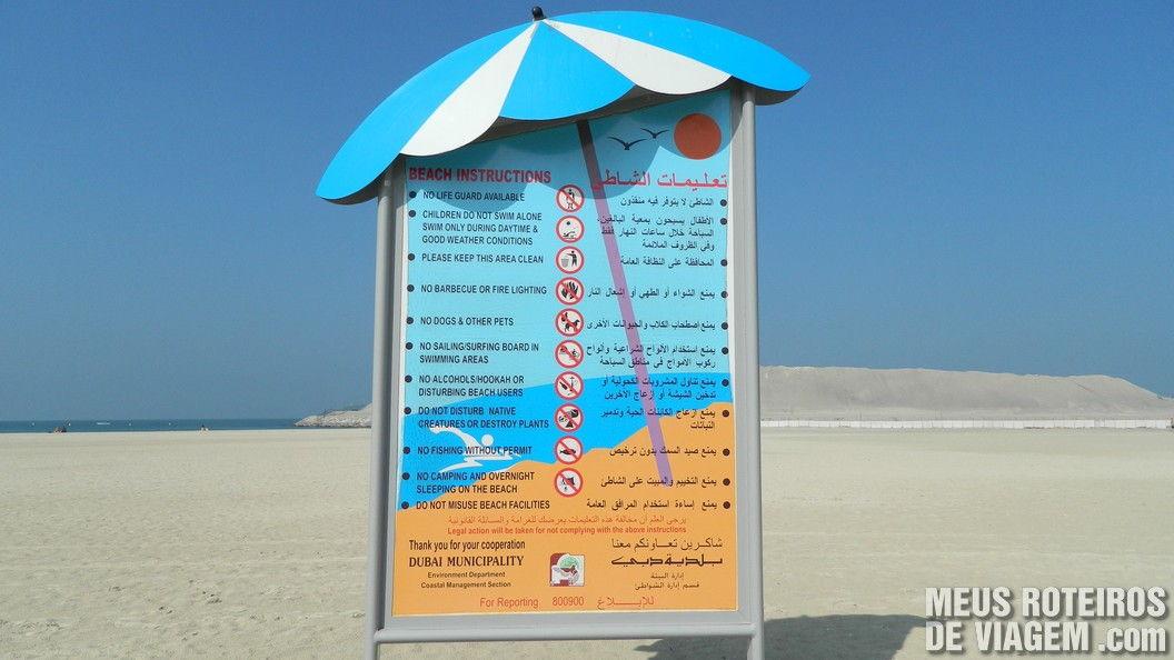 Regras para utilizar a praia