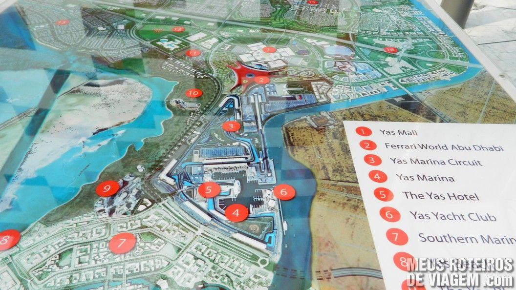 Mapa da Yas Island - Abu Dhabi