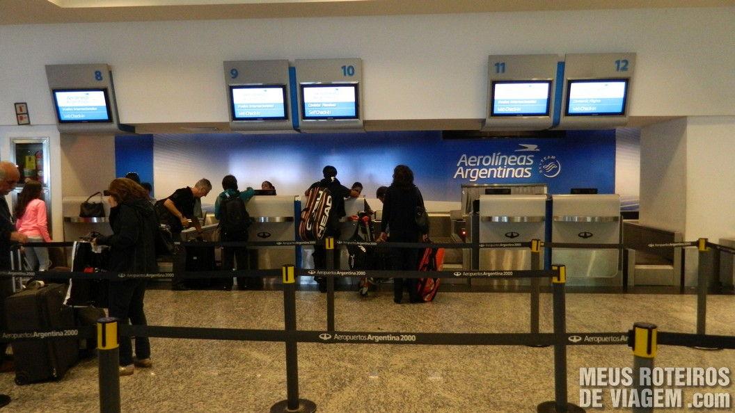 Check-in da Aerolineas Argentinas no Aeroparque - Buenos Aires