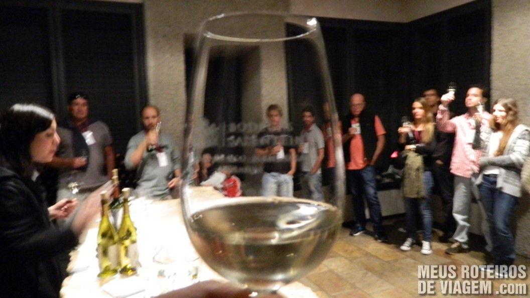Degustação do vinho branco