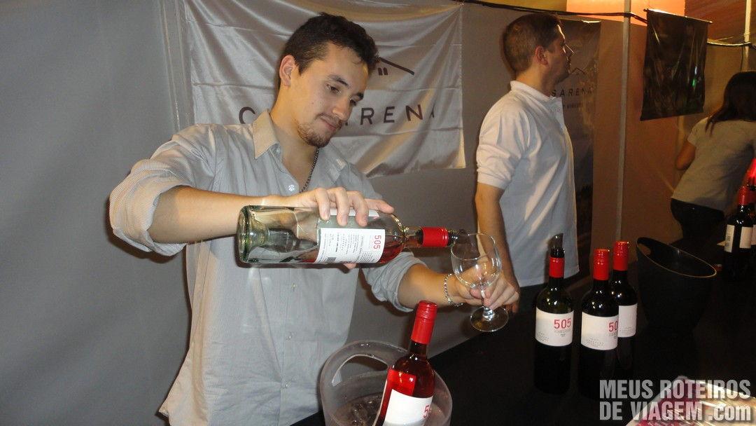 Enchendo a taça com o vinho escolhido na Bodega Casarena