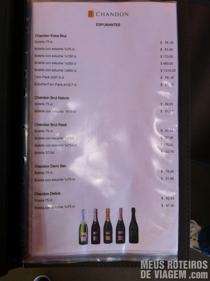 Tabela de preços da Bodegas Chandon - Mendoza, Argentina
