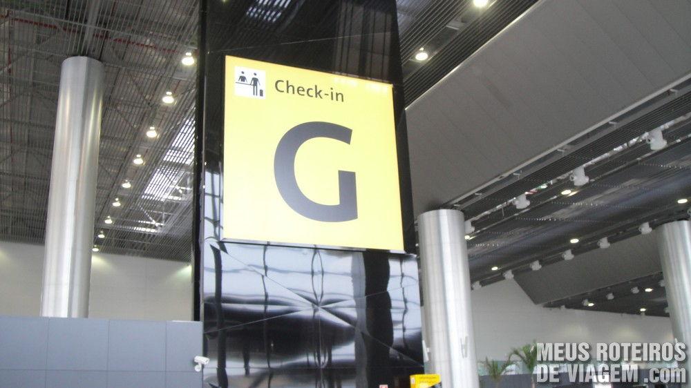 Aviso da ilha de check-in G