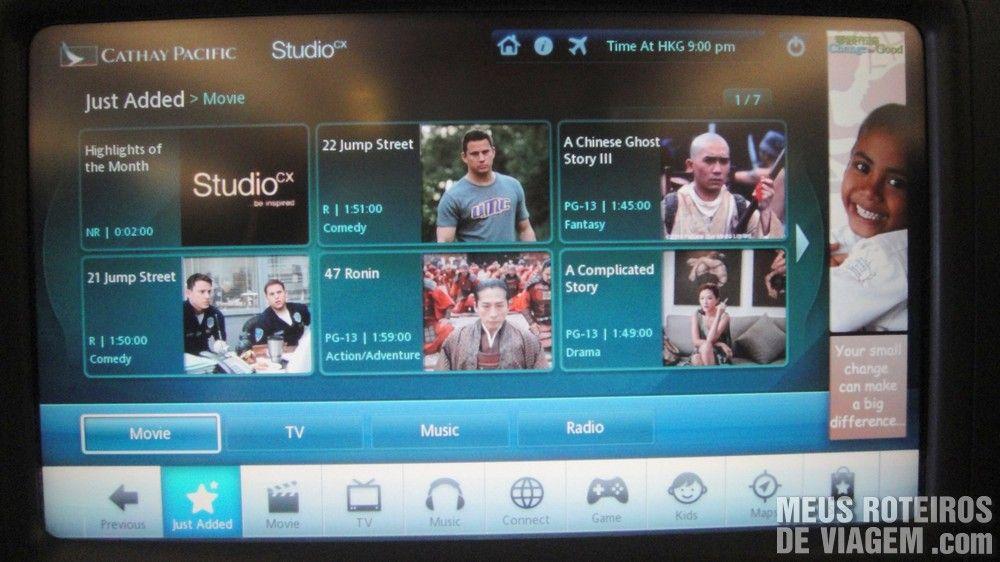 Sistema de entretenimento individual da Cathay Pacific