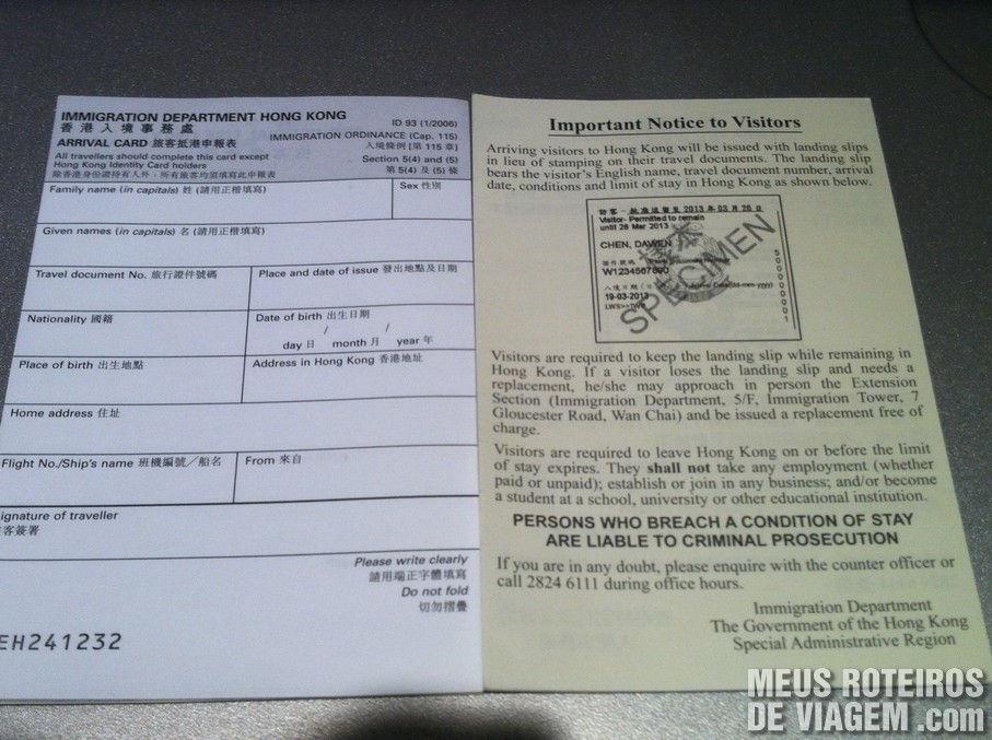 Formulário de Imigração de Hong Kong