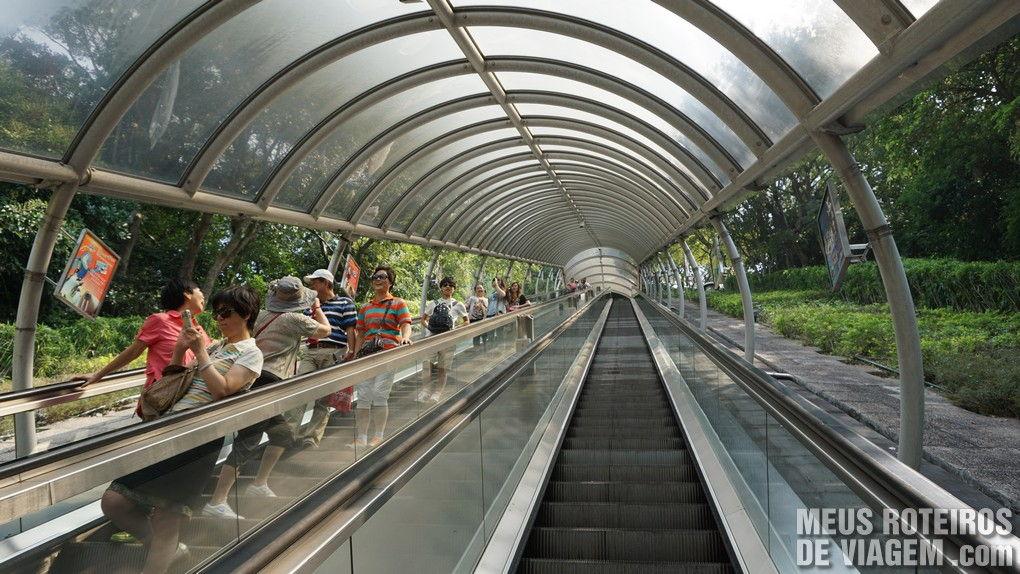 Escadas rolantes entre áreas teáticas do parque