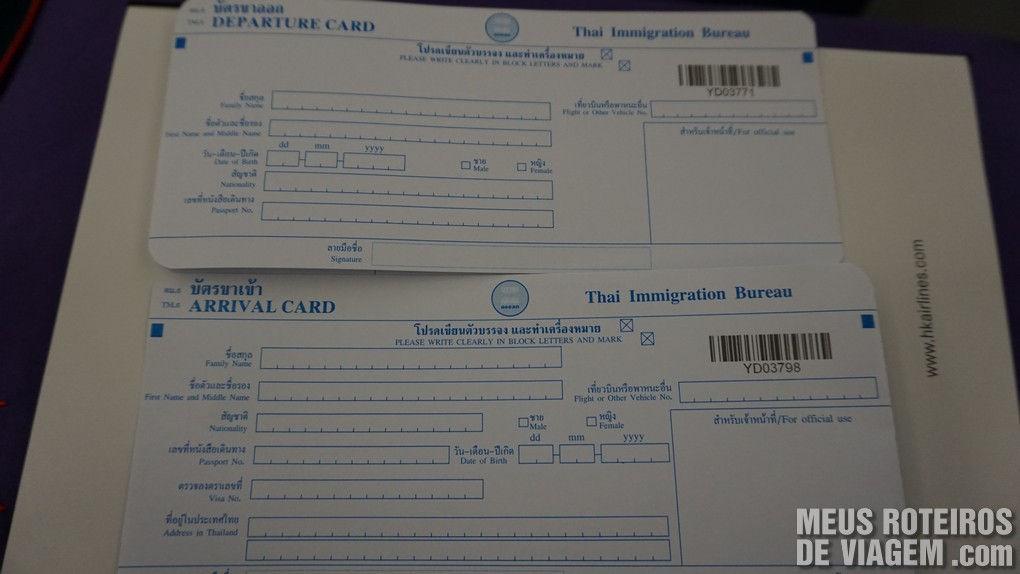 Cartões de imigração para entrar na Tailândia