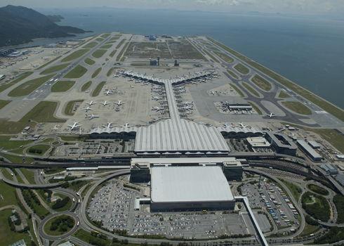 Vista aérea do Aeroporto de Hong Kong