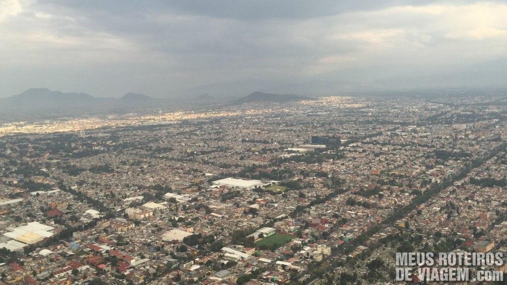 Vista aérea durante o pouso na Cidade do México