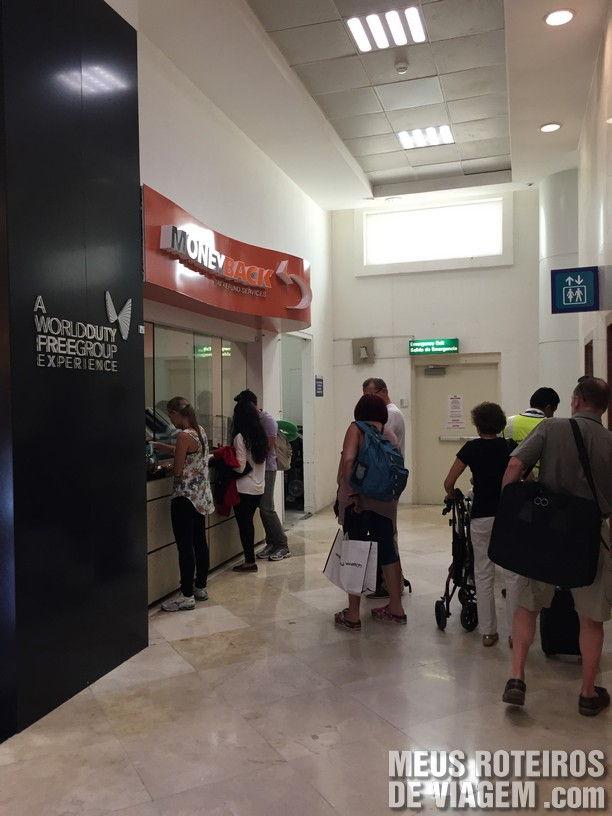 Guichê do Moneyback no Aeroporto de Cancún
