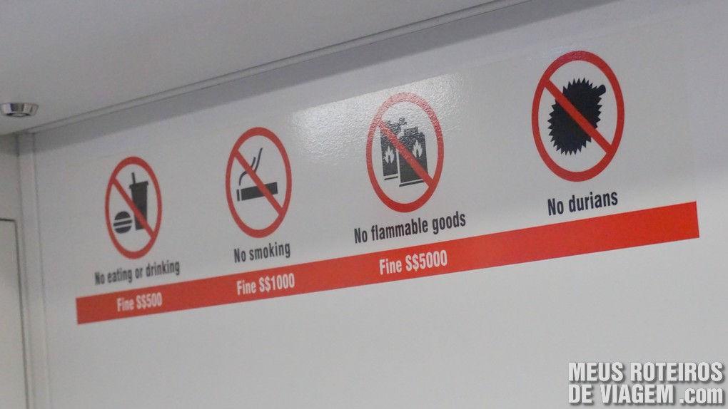 Proibições e multas no metrô de Cingapura