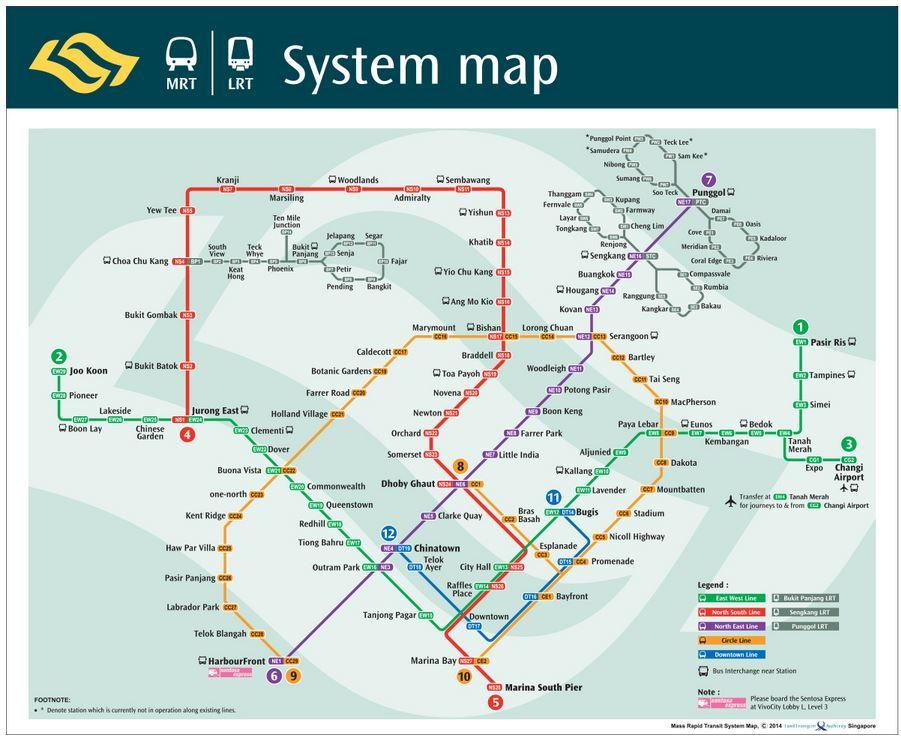 Mapa do metrô de Cingapura
