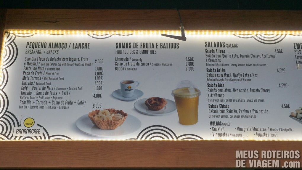 Menu no quiosque Bananacafe - Lisboa, Portugal
