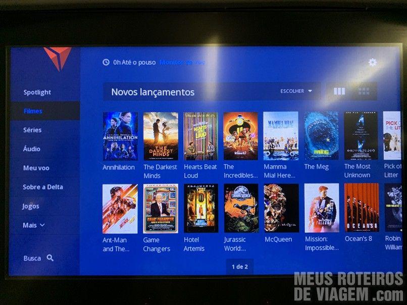 Sistema de entretenimento da Delta Airlines