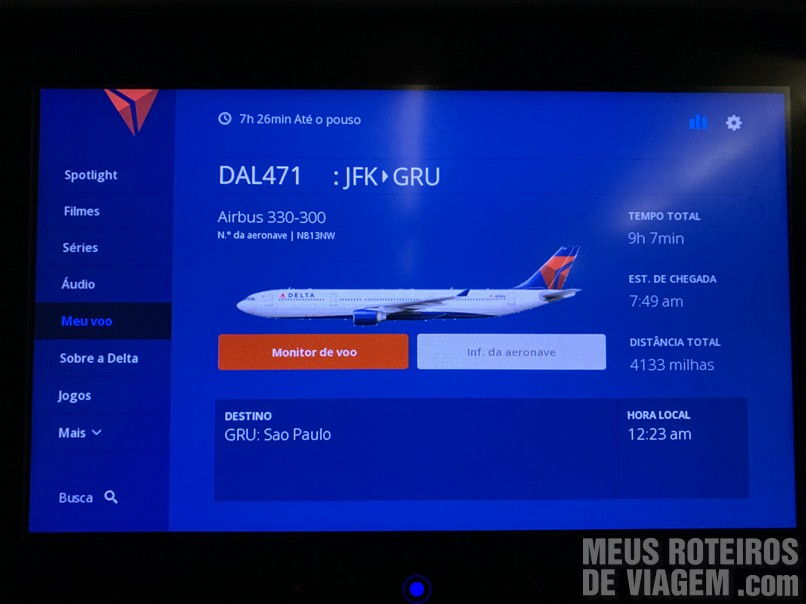 Informações do voo da Delta Airlines