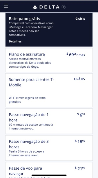 Valores da internet a bordo da Delta